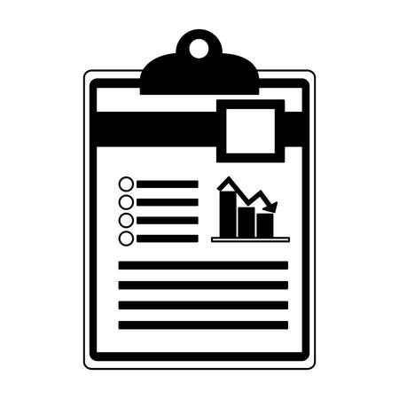 checklist with document file and statistics bars graphic vector illustration design  イラスト・ベクター素材