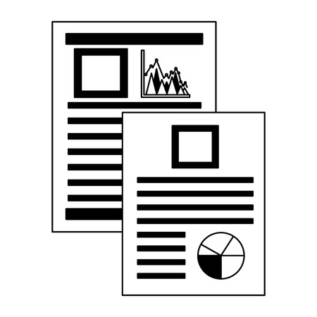 documents files with statistics graphics vector illustration design