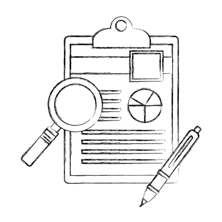magnifying glass and checklist with pen vector illustration design