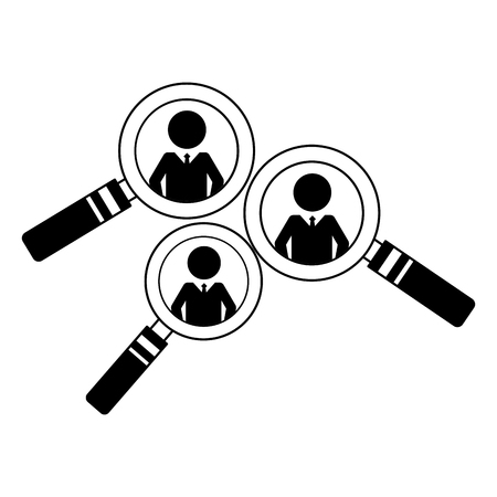 set magnifying glasses with silhouette men vector illustration design
