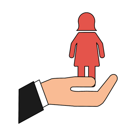hand with female gender silhouette vector illustration design Foto de archivo - 105647394