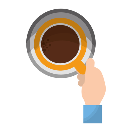 top view hand with coffee cup vector illustration