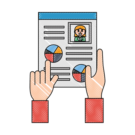 hands with curriculum vitae isolated icon vector illustration design Illustration