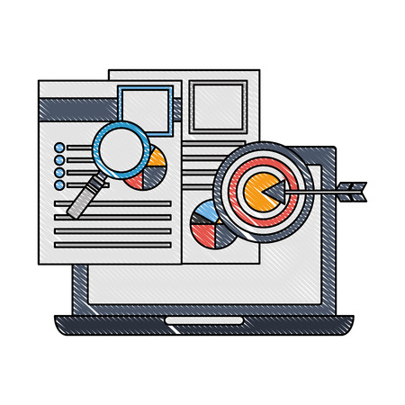 laptop computer with documents and objects vector illustration design