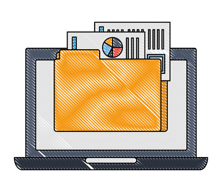laptop computer with folder and documents files vector illustration design