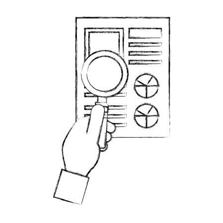 hand with document file and magnifying glass vector illustration design