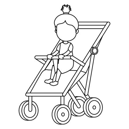 little girl baby in cart vector illustration design