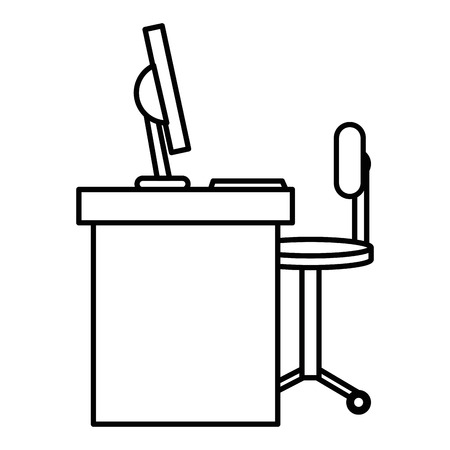 office desk with computer and chair vector illustration design