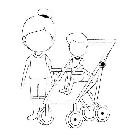 Baby Boy en carro con hermana, diseño de ilustraciones vectoriales