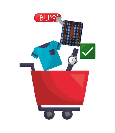 shopping cart watch clothes clicking buy online vector illustration Illustration