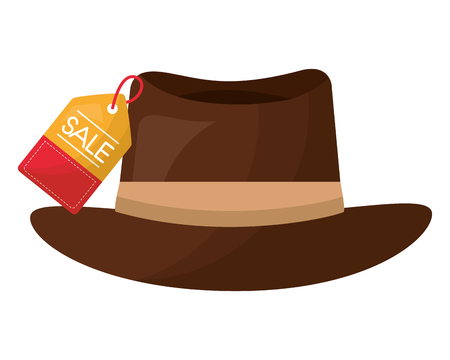 brown hat accessory fashion tag price vector illustration Ilustração