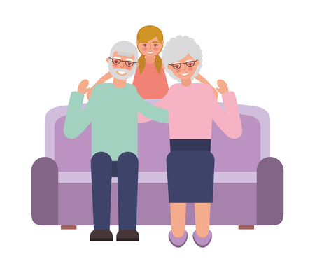 grandparents with granddaughter sitting on sofa vector illustration
