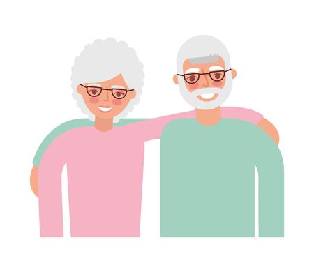 happy grandparents hugging portrait characters vector illustration