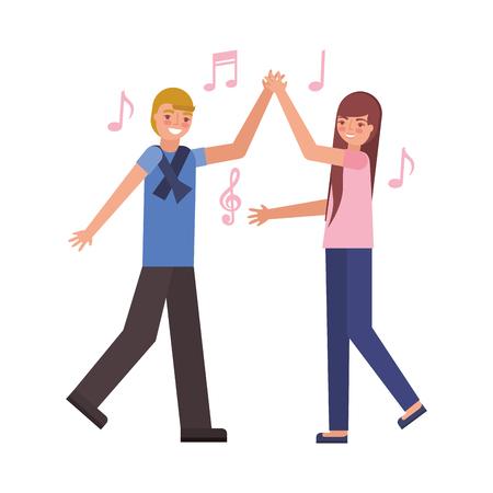 man and woman dancing music vector illustration Illustration