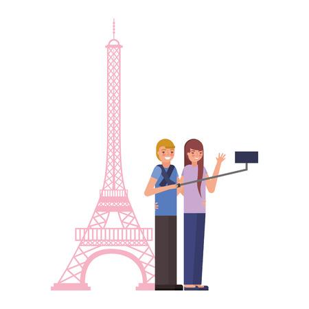 couple making selfie eiffel tower vector illustration Ilustracja