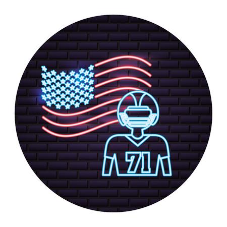 football player american flag labor day neon vector illustration