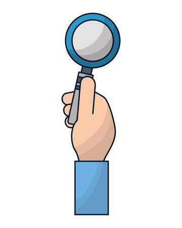 hand holding magnifying glass searching vector illustration Illustration