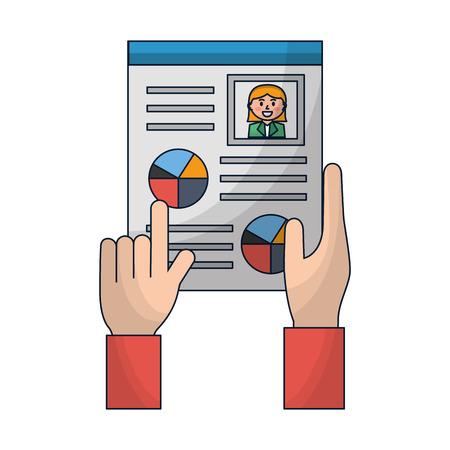hand holds cv human resources management vector illustration