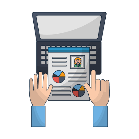 hand with curriculum and laptop resources human vector illustration
