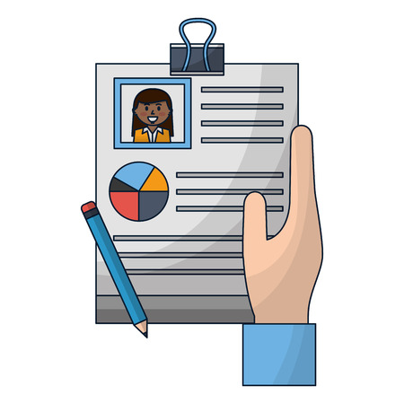 hand with human resources document report pencil vector illustration