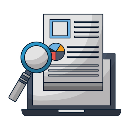 laptop computer report paper magnifying glass vector illustration