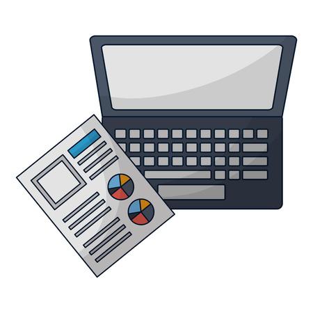 laptop computer document report work vector illustration