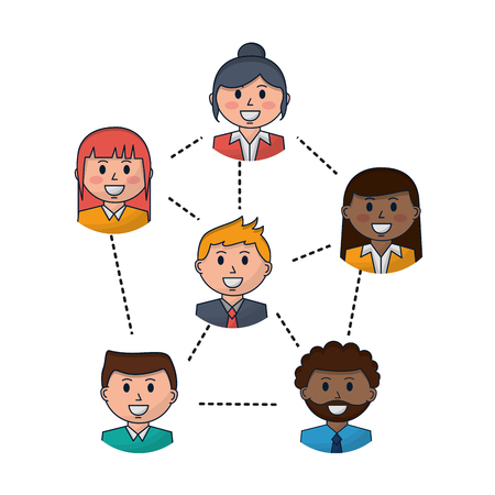 business people team work connected vector illustration