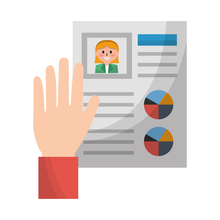 hand holds cv human resources management vector illustration