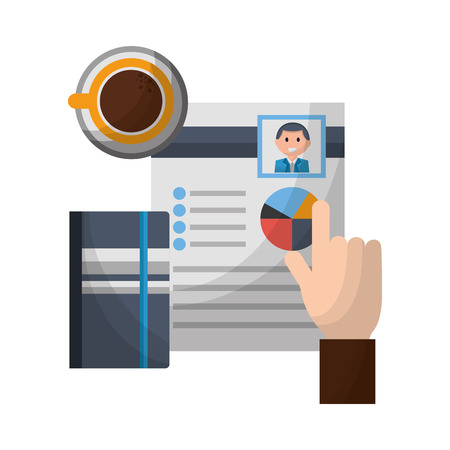 hand curriculum notebook and coffee cup vector illustration