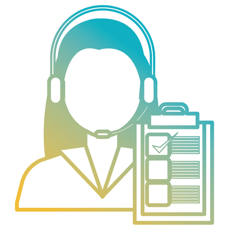 logistic woman worker with headset and checklist vector illustration design