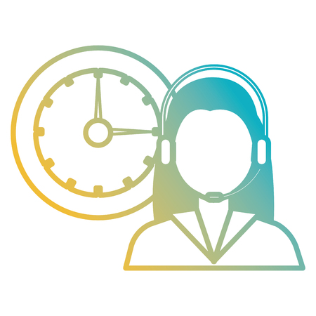 logistic woman worker with headset and watch vector illustration design