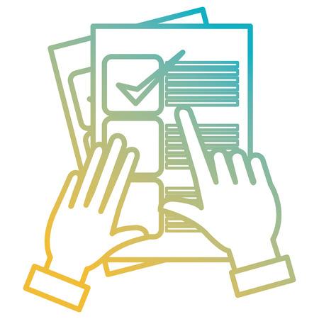 La main avec la conception d'illustration vectorielle de document de liste de contrôle Vecteurs