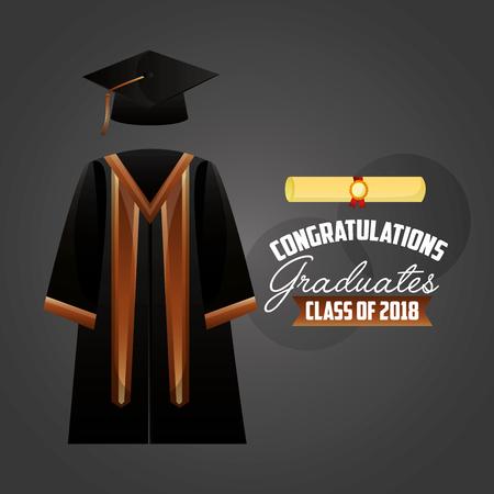 congratulations graduation dress parchment sign vector illustration