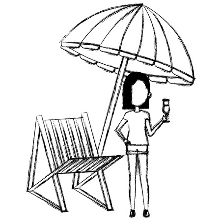 young woman with drink and umbrella beach vector illustration design Banque d'images - 112389482