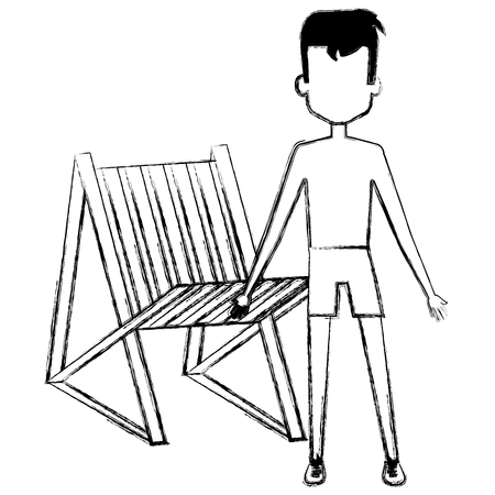 young boy with swimsuit and beach chair vector illustration design