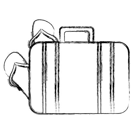 Kofferreise mit Sandalen Vektor-Illustration Design