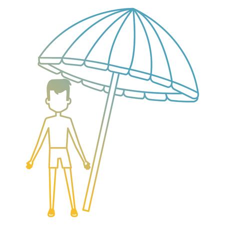 little boy with umbrella beach vector illustration design