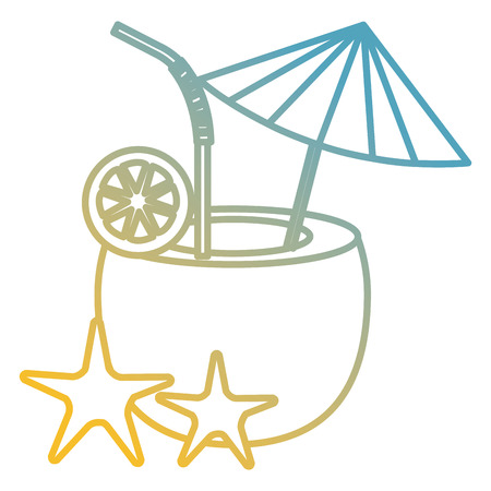 3f161c63d07 coconut cocktail with starfish vector illustration design Illustration