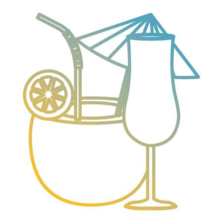 coconut cocktail with cup vector illustration design Ilustração