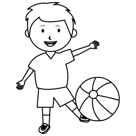 little boy with balloon beach character vector illustration design