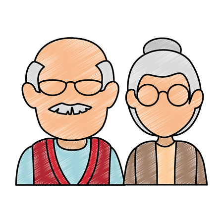 cute grandparents couple avatars characters vector illustration design 스톡 콘텐츠 - 112389520