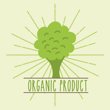 broccoli vegetable organic product retro image vector illustration Иллюстрация