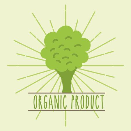 Ilustración de vector de imagen retro de producto orgánico vegetal de brócoli Ilustración de vector