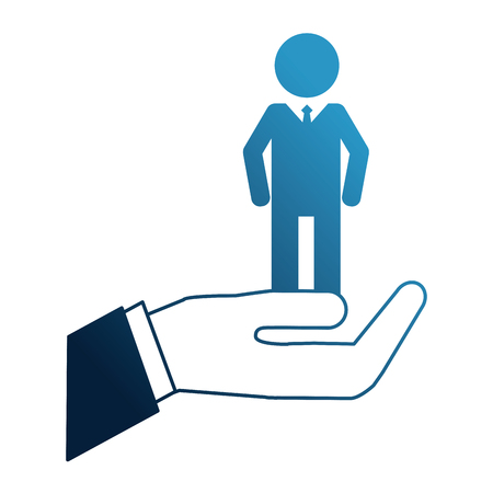 hand holding silhouette man human resources vector illustration