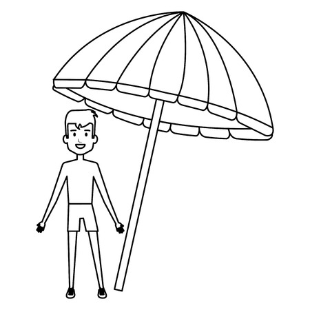 little boy with umbrella beach vector illustration design 版權商用圖片 - 112389536
