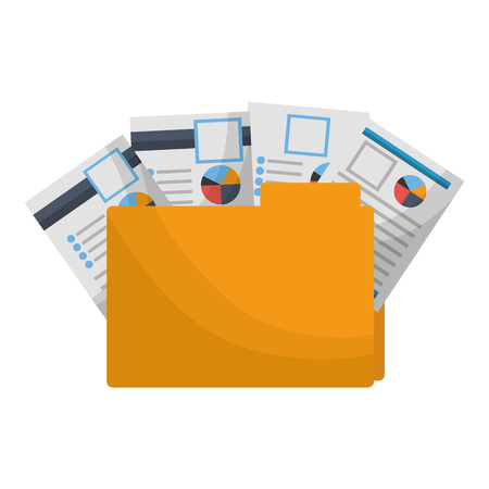 office folder file documents paper reports vector illustration Çizim