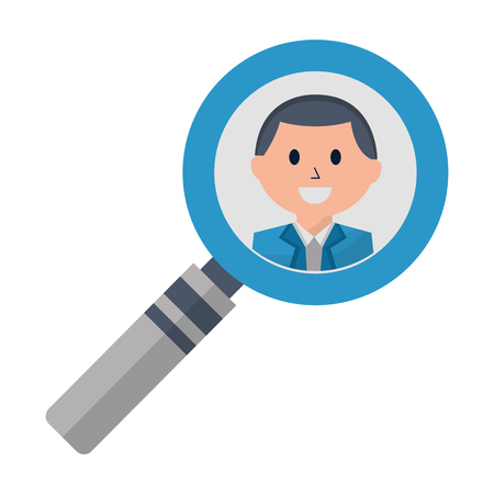 business man in magnifying glass vector illustration Çizim
