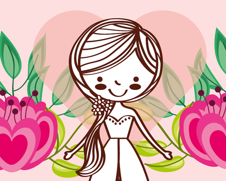 cute wedding bride girl flowers decoration vector illustration