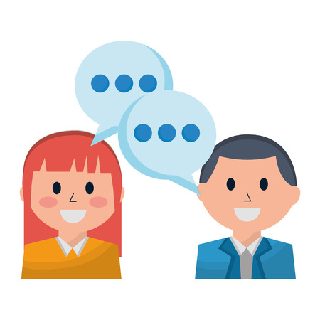 business man and woman discussing speech bubble vector illustration Stock Vector - 112389554