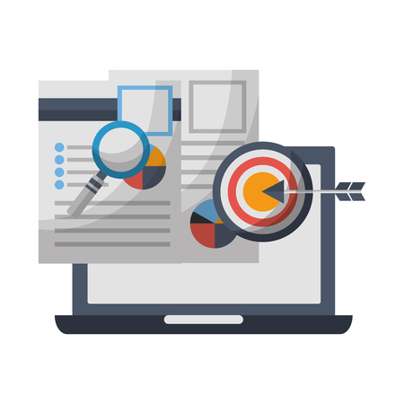 laptop document reports magnifying glass target marketing vector illustration
